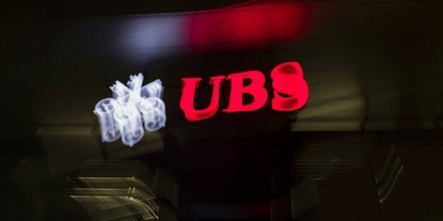 A picture taken on February 25, 2016 shows the logo of the Swiss global financial services company UBS...