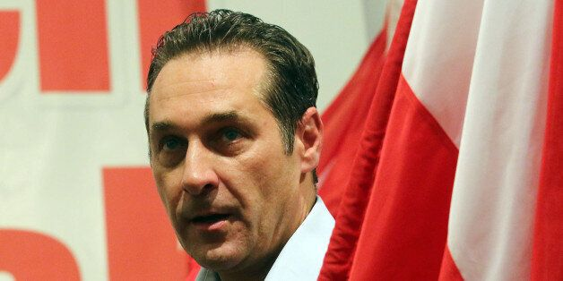 In this picture taken May 1, 2014, Heinz-Christian Strache head of Austria's right-wing Freedom Party,...