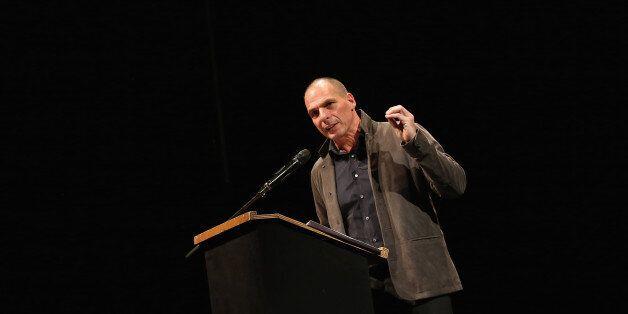 BERLIN, GERMANY - FEBRUARY 09: Former Greek Finance Minister Yanis Varoufakis speaks at the official...