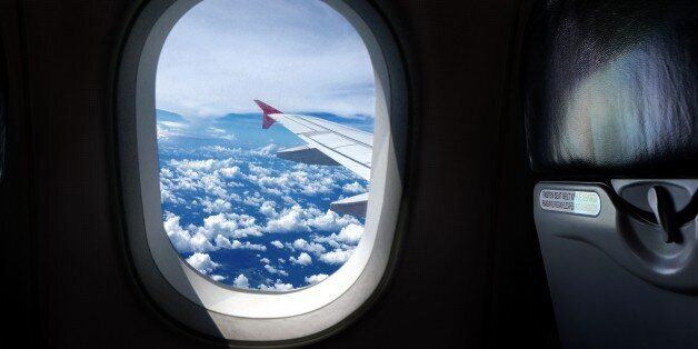 Airplane window seat with
