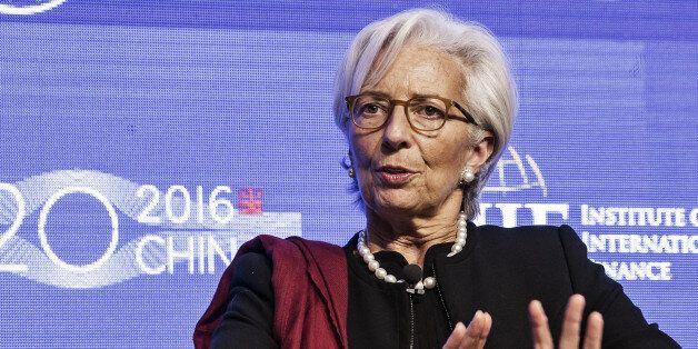 Christine Lagarde, managing director of the International Monetary Fund (IMF), speaks during the Institute...