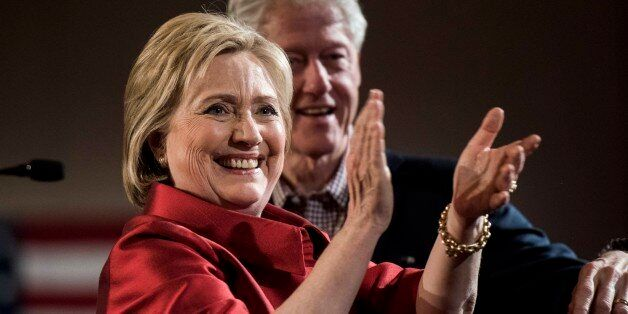 LAS VEGAS, NV - Former Secretary of State Hillary Clinton gives a victory speech to a packed room of...