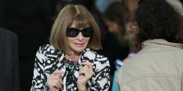 Anna Wintour leaves following the Christopher Kane Spring/Summer 2016 show for London Fashion Week in the Sky Garden, at 20 Fenchurch Street, London, Monday Sept. 21, 2015. (AP Photo/Tim Ireland)