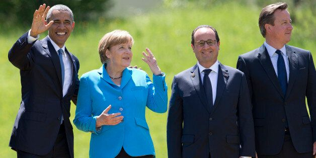 From left, US President Barack Obama, German Chancellor Angela Merkel, French President Francois Hollande...