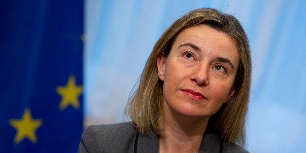 European Union High Representative Federica Mogherini participates in a handover ceremony of the EU membership...