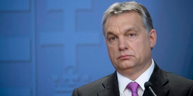 Hungarian Prime Minister Viktor Orban attends a joint press conference held with his British counterpart,...