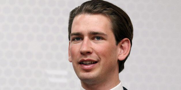Austrian Foreign Minister Sebastian Kurz addresses the media after his talks with Spanish Foreign Minister...