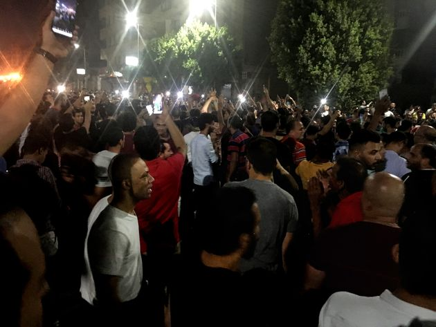 Protesters chant slogans against the regime in Cairo, Egypt, early Saturday, Sept. 21, 2019. Dozens of...