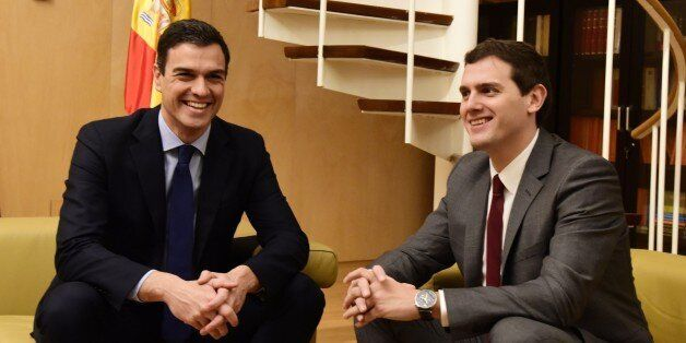 Leader of Spanish Socialist Party (PSOE) Pedro Sanchez (L) and leader of centre-right party Ciudadanos...