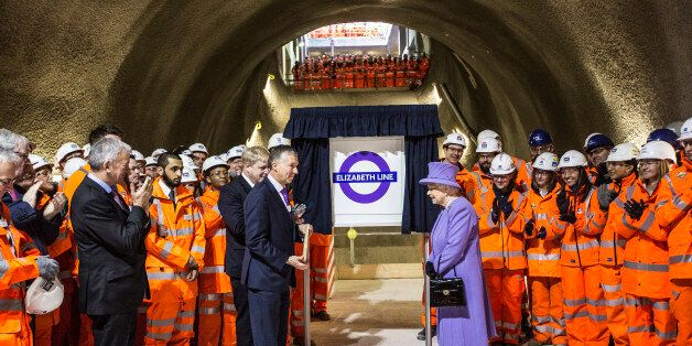 LONDON, UNITED KINGDOM - FEBRUARY 23: Queen Elizabeth unveils the new roundel for the Crossrail line...