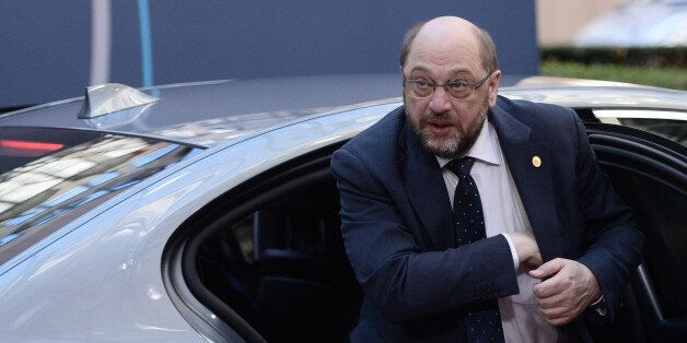 European Parliament President Martin Schulz arrives for the second day of an EU summit meeting on the...