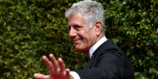 Anthony Bourdain arrives at the Creative Arts Emmy Awards at the Microsoft Theater on Saturday, Sept. 12, 2015, in Los Angeles. (Photo by Chris Pizzello/Invision/AP)