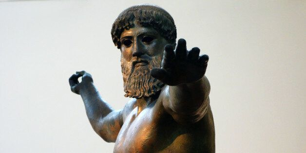 Artemision Zeus or Poseidon, c. 460 B.C.E., bronze, 2.09 m high, Early Classical (Severe Style), recovered...