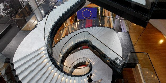 STRASBOURG, FRANCE - FEBRUARY 1: Visitors walk the stairs in the European Parliament ahead of the debate...