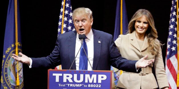 Republican presidential candidate, businessman Donald Trump introduces his wife Melania during a campaign...