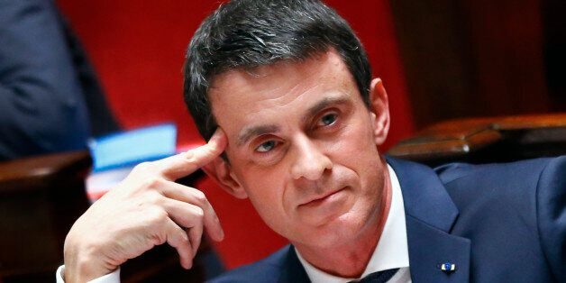 French Prime Minister Manuel Valls reacts to speeches in the lower house of Parliament in Paris, France,...