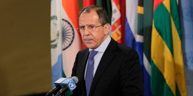 Russian Foreign Minister Sergei Lavrov speaks to the media after a Security Council meeting at United...