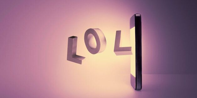 Acronyms used in social media, letters levitating out of a smartphone.Smart phone texting