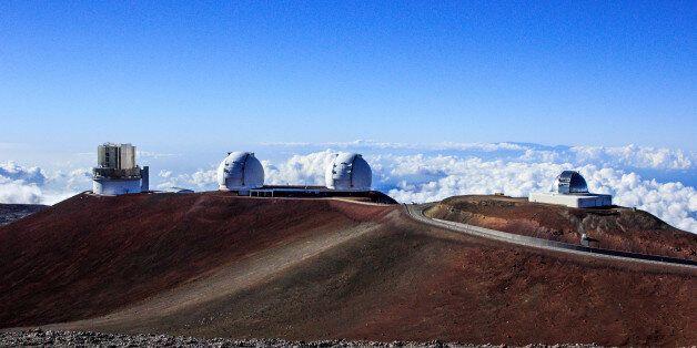 The NASA Infrared Telescope Facility, Keck I, Keck II, and Subaru Telescopes at the Mauna Kea Observatories...