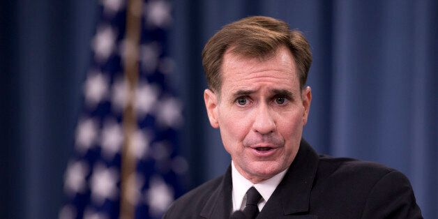 Department of Defense Press Secretary Rear Admiral John Kirby, speaks to reporters during a news conference,...