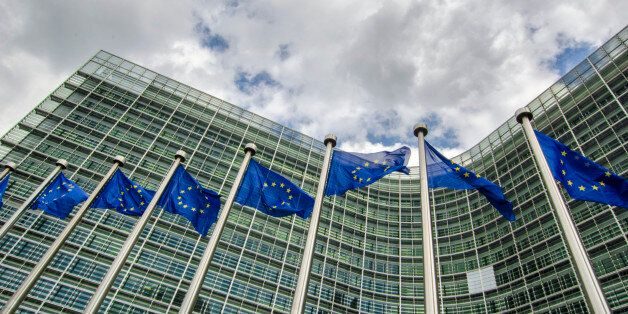 EU flags in front of European Commission in