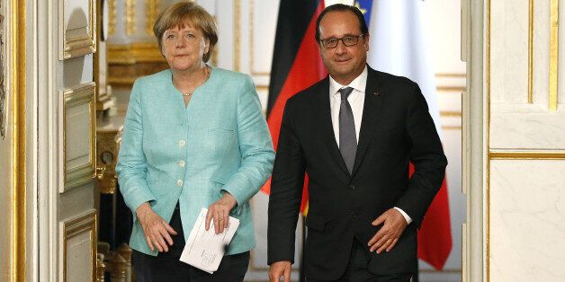 PARIS, FRANCE - JULY 6: French President Francois Hollande meets German Chancellor Angela Merkel to discuss...
