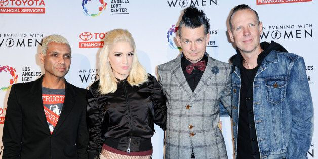 Musicians Tony Kanal, from left, Gwen Stefani, Adrian Young and Tom Dumont of No Doubt arrive at An Evening with Women benefiting the Los Angeles LGBT Center held at the Hollywood Palladium on Saturday, May 16, 2015, in Los Angeles. (Photo by Richard Shotwell/Invision/AP)