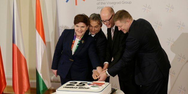 Prime Ministers of Czech Republic Bohuslav Sobotka, 2nd right, Poland Beata Szydlo, left, Hungary Viktor...