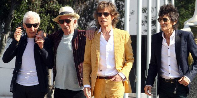 British Rolling Stones' (L-R) Charlie Watts, Keith Richards, Mick Jagger and Ronnie Wood arrive to the...