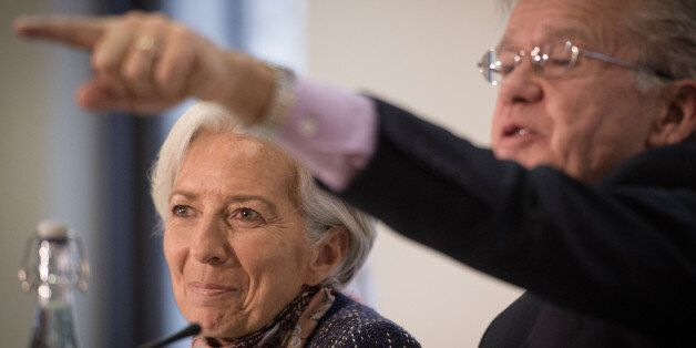 Managing Director of the International Monetary Fund Christine Lagarde speaks at a press conference at...