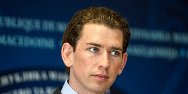 Austrian Foreign minister Sebastian Kurz gives a press conference in Skopje on February 12, 2016. 6....