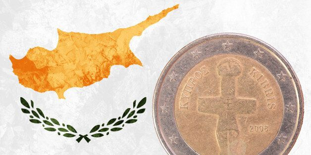 Two euros coin from Cyprus isolated on the national cypriot flag as