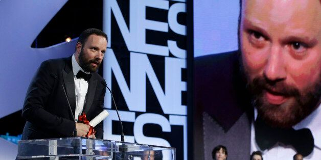 Director Yorgos Lanthimos speaks after he was presented the Jury Prize award for the film The Lobster...