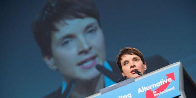HANOVER, GERMANY - NOVEMBER 28: Chairwoman Frauke Petry delivers her speech during the AfD (Alternative...