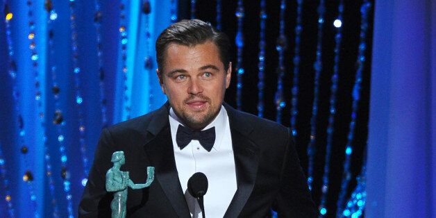 "Leonardo DiCaprio accepts the award for outstanding male actor in a leading role for ""The Revenant""..."