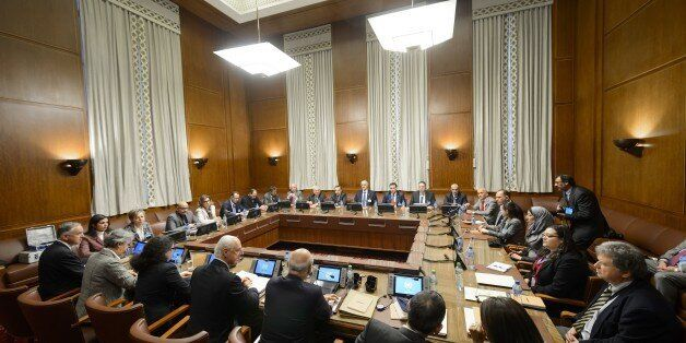 The UN envoy for Syria Staffan de Mistura mets representatives of Syrian President Bashar al-Assad's...