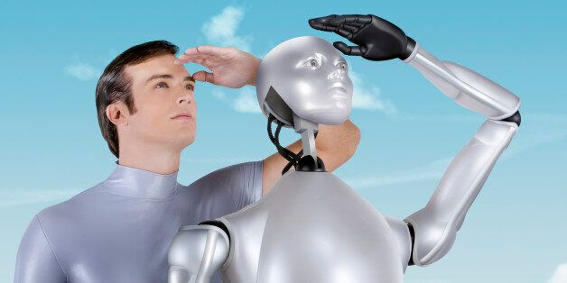 A Man and a Robot staring into the