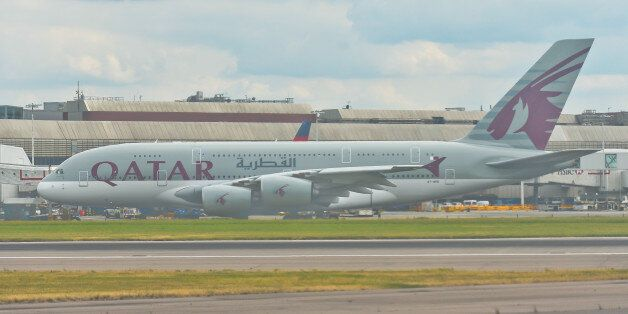 A view of Qatar Airways plane, the state-owned flag carrier of Qatar, at London Heathrow Airport. On...