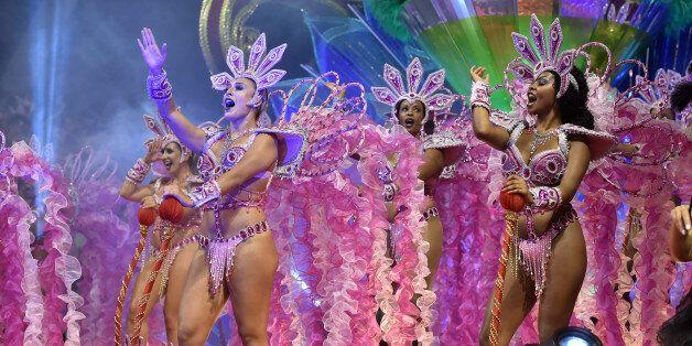 Revelers of the Vai-Vai samba school perform honoring France with their performance 'Je suis Vai-Vai....