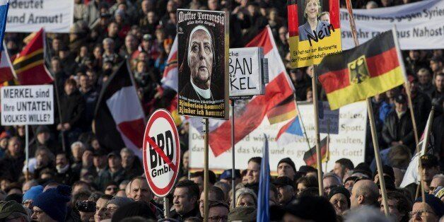 DRESDEN, GERMANY - FEBRUARY 6: Supporters of Pegida (Patriotic Europeans against the Islamization of...