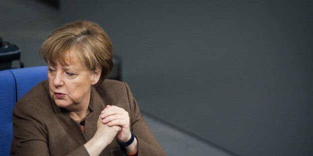 BERLIN, GERMANY - JANUARY 28: German Chancellor Angela Merkel during the meeting of the Bundestag on...