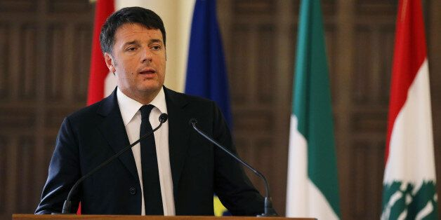Italian Prime Minister Matteo Renzi, speaks during a joint press conference with his Lebanese counterpart...