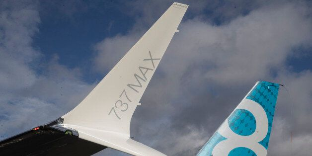 SEATTLE, WA - JANUARY 29: The tail and a next generation winglet of a A Boeing 737 MAX 8 are pictured...