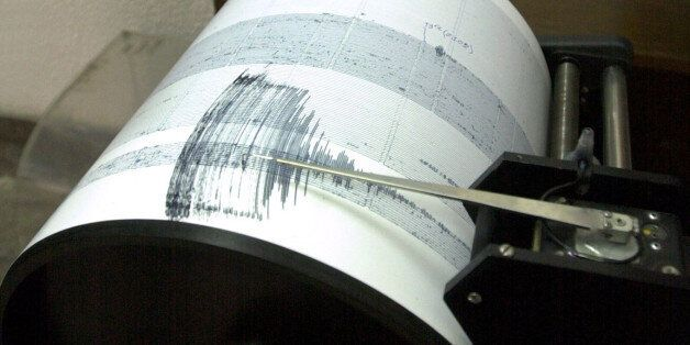 A seismograph based in the Earthquake Institute in Macedonia's capital Skopje shows the magnitued of...