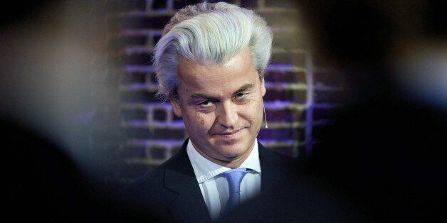 Dutch far-right Freedom Party leader Geert Wilders poses after being named politician of the year by...