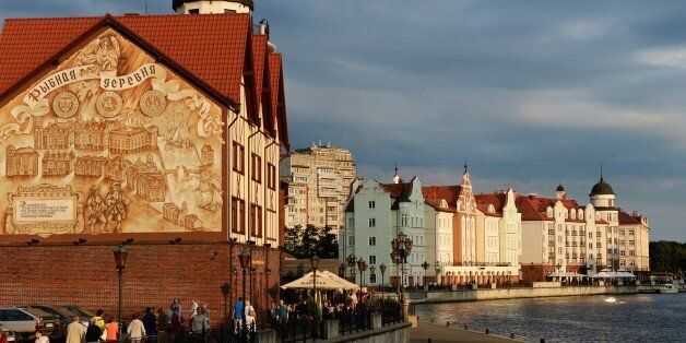 People walk along the promenade in the city of Kaliningrad, on July 18, 2015. Kaliningrad will host matches...