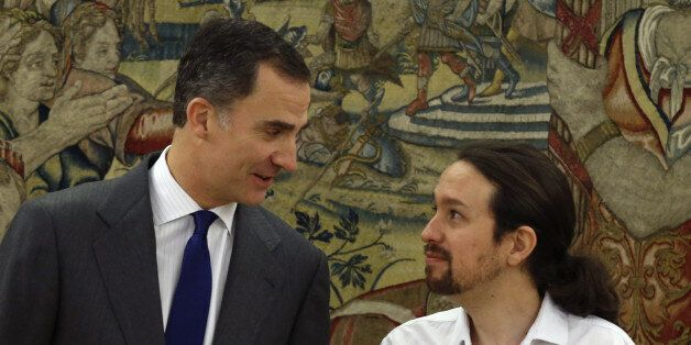 MADRID, SPAIN - JANUARY 22: King Felipe VI receives the leader of Podemos, Pablo Iglesias, during the...
