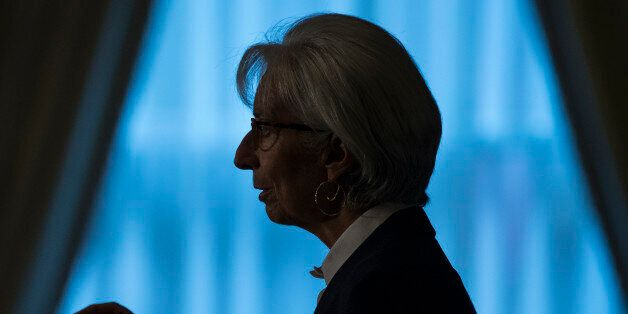 International Monetary Find (IMF) Managing Director Christine Lagarde speaks during an event hosted by...