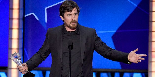 "Christian Bale accepts the award for best actor in a comedy for ""The Big Short"" at the 21st annual..."