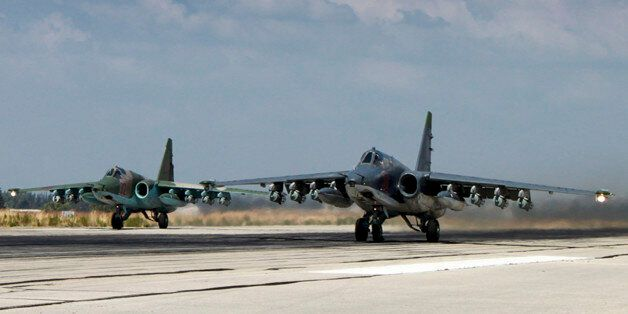 In this photo made from the footage taken from Russian Defense Ministry official web site on Tuesday,...